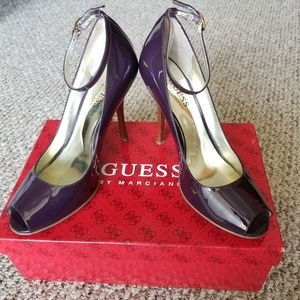 GUESS Ankle Strap Peep Toe Heels